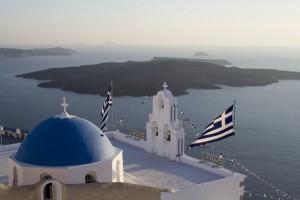 greek flag over sea