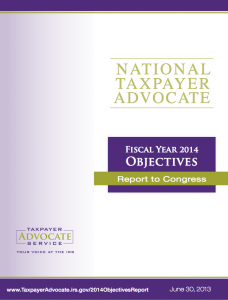 image of cover of National Taxpayer Advocate Report Fiscal Year 2014