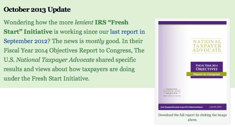IRS Fresh Start Initiative for October 2013 from Tax Attorney Jeff Fouts